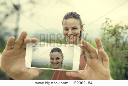 Woman Taking Pictures Device Concept