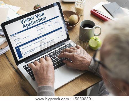 Senior Searching Visa Application Immigration Concept