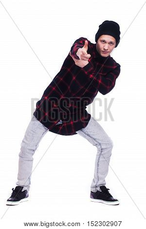 Hip Hop Dancer Showing Some Movements Isolated On White