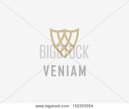 Abstract shield logo design template. Premium business sign. Universal protection legal law symbol. Security guard vector logotype.