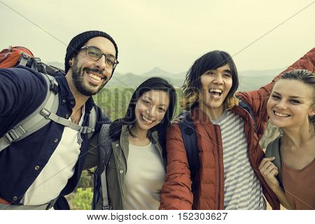 Diverse Friends Posing Outdoors Concept