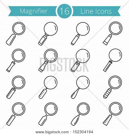 Set of 16 magnifying glass line icons, zoom icons set, vector eps10 illustration