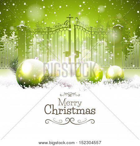 Luxury Christmas greeting card with green baubles in the snow and open gate on the background
