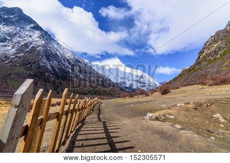 Wooden fence or wooden wall for yak farm in the Snowy Mountains at Yading Nature Reserve China.