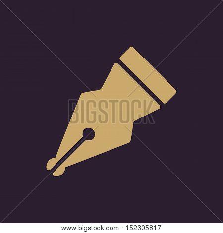 The pen icon. Fountain Pen symbol. Flat Vector illustration