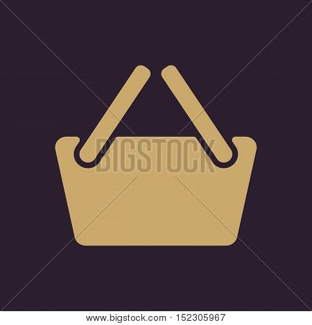 The basket shoping icon. Shop Basket symbol. Flat Vector illustration
