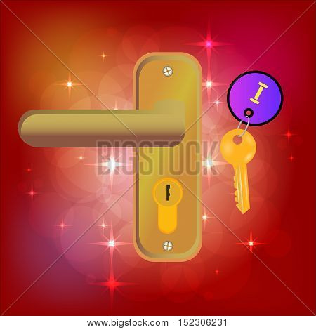 The Magic Door. Golden Key . Keychain . Bright background with highlights. Fairy tale . Vector illustration
