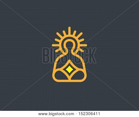 Meditation yoga linear logo design. Zen balance vector logotype. Creative harmony relax symbol