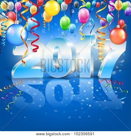 New Year 2017 banner or card template with 3D numbers. vector