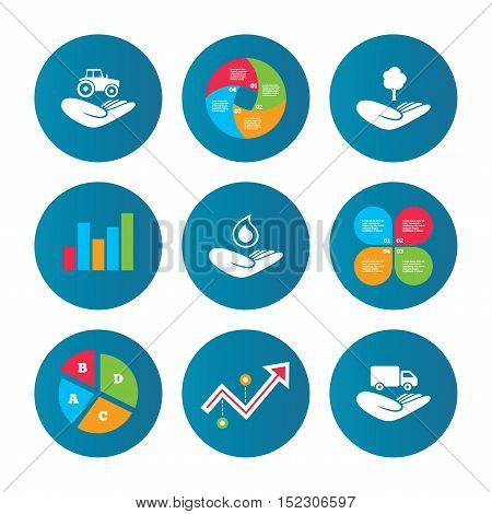 Business pie chart. Growth curve. Presentation buttons. Helping hands icons. Agricultural tractor insurance symbol. Delivery truck sign. Save nature forest. Water drop. Data analysis. Vector