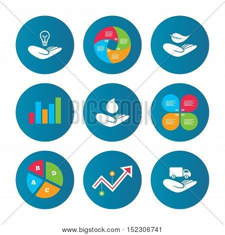 Business pie chart. Growth curve. Presentation buttons. Helping hands icons. Intellectual property insurance symbol. Delivery truck sign. Save nature leaf and water drop. Data analysis. Vector