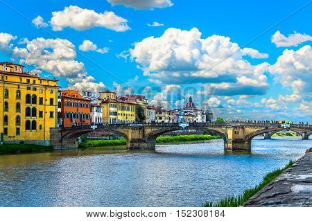 View at colorful cityscape in famous italian town Florence.