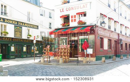 Paris France-July 09 2016: The traditional French restaurant Le Consulat located in picturesque Montmartre district of Paris.