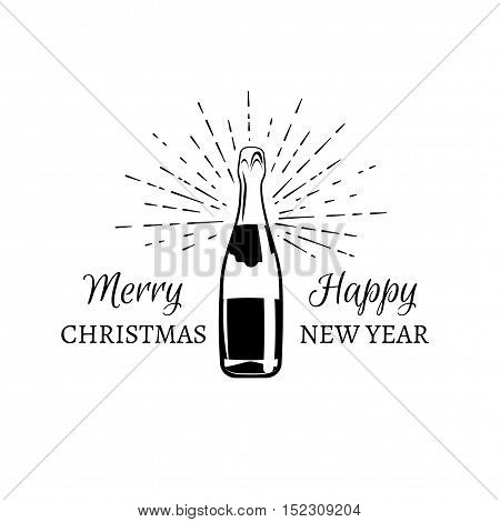 Merry Cristmas And Happy New year. Illustration of explosion of champagne bottle cork