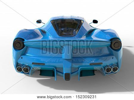 Sports car rear view. The image of a sports blue car on a white background. 3d illustration