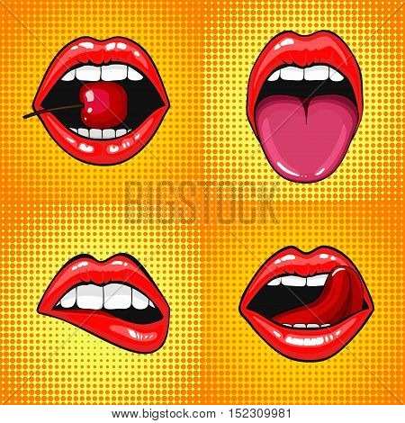 Close up view of young pretty woman lips portrait biting a cherry. Open month with white teeth and tongue. halftone dots background. Set Pop art comic style month
