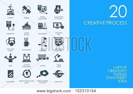 BLUE HAMSTER Library creative process vector set of modern simple icons