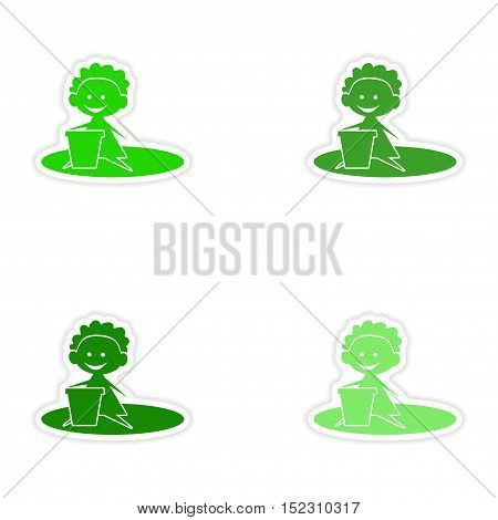assembly realistic sticker design on paper baby sand green