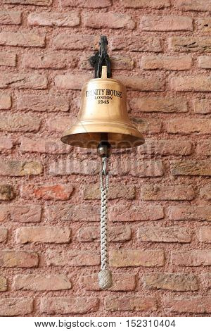 ISTANBUL TURKEY - JULY 29 2016: Bell of Trinity House in Rahmi M. Koc Industrial Museum. Koc museum is industrial Museum dedicated to history of transport industry and communications
