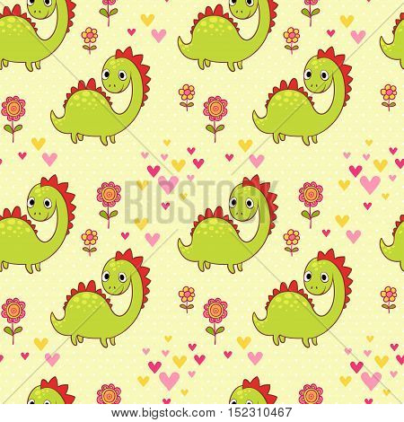 Seamless pattern with dinosaurs in cartoon vector. Baby cute pattern.