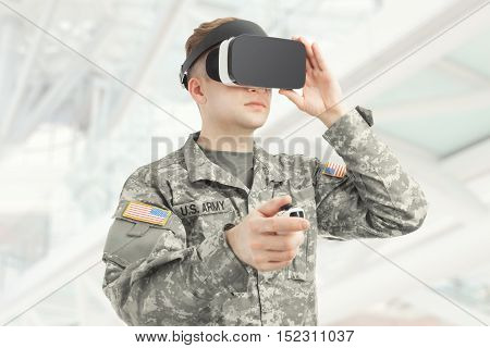 Indoors Shot Of Usa Soldier Wearing Vr Glasses