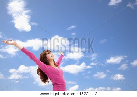Beautiful Asian Young Woman over blue Sky and relax