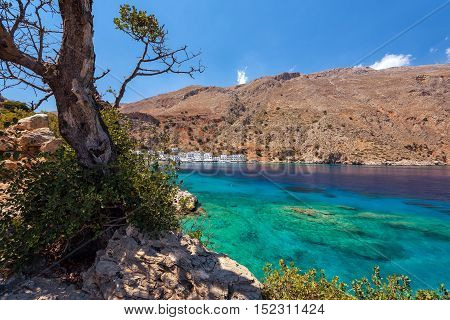 Sea bay with transparent blue water near Loutro town on Crete island, Greece