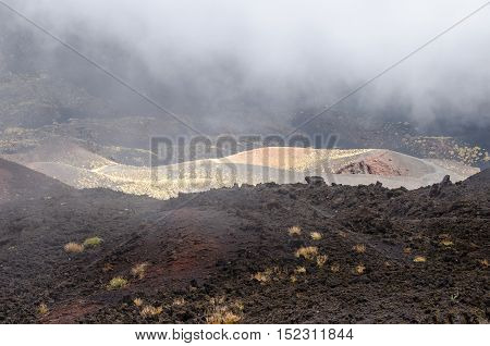 Southern flank of Mount Etna an active stratovolcano on the east coast of Sicily Italy showing lava flows from eruption and new vegetation on the lava fieldat elevation of aproximtely 1900 m with low hanging clouds.