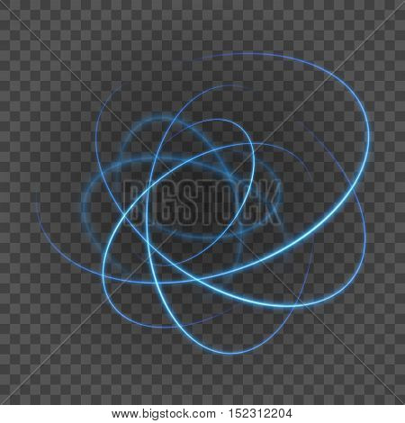 Smooth Light Blue Lines On Transparency Background Vector Illustration.