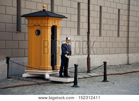 Stockholm, Sweden - June 20, 2012: A soldier of the Royal Guards at the Royal Palace in Stockholm