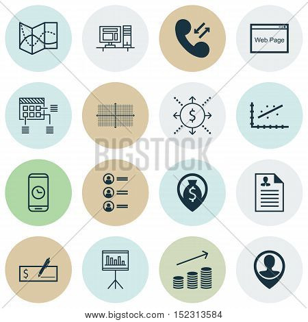 Set Of 16 Universal Editable Icons For Project Management, Statistics And Airport Topics. Includes I