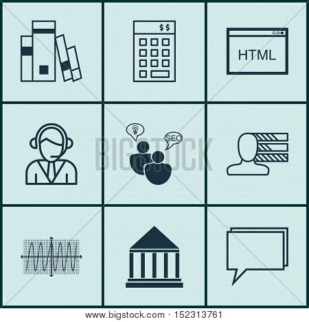 Set Of 9 Universal Editable Icons For Airport, Project Management And Seo Topics. Includes Icons Suc