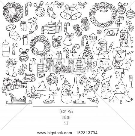 Christmas set of hand drawn doodles in simple graphic style. Vector black and white illustration with christmas accessories as christmas tree decoration santa and more. Black outline on white.