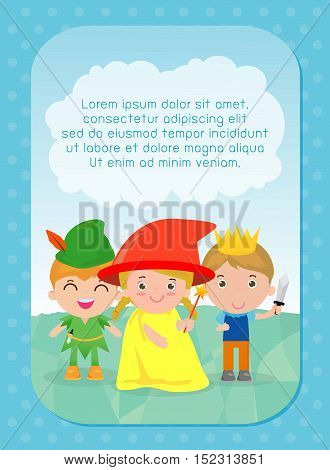 background with kids, kids and fairy tale story, Template for advertising brochure, your text ,child and frame, Vector Illustration