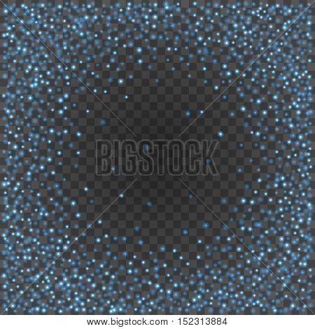 Bokeh Light Blue Sparkles On Transparency Background Vector Illustration.