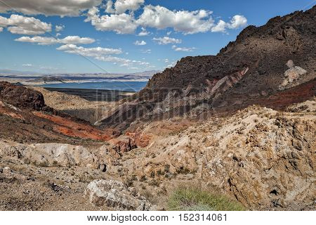 View of Arizona Desert with Lake Mead in the background.