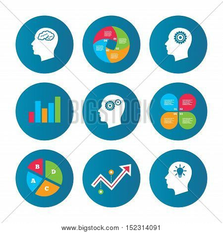 Business pie chart. Growth curve. Presentation buttons. Head with brain and idea lamp bulb icons. Male human think symbols. Cogwheel gears signs. Data analysis. Vector