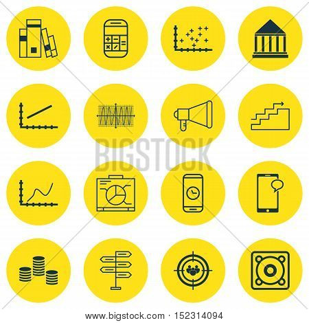 Set Of 16 Universal Editable Icons For Statistics, Human Resources And Marketing Topics. Includes Ic