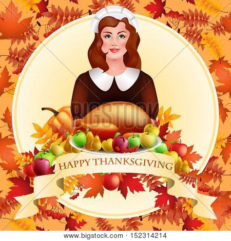 illustration of Thanksgiving celebration banner with maple leaf, apples, pumpkin and beautiful girl with a roasted turkey on a platter