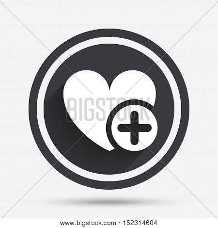 Heart sign icon. Add lover symbol. Plus love. Circle flat button with shadow and border. Vector