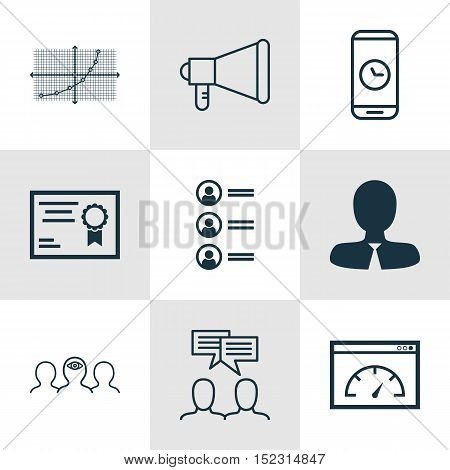 Set Of 9 Universal Editable Icons For Human Resources, Statistics And Business Management Topics. In