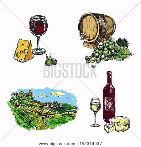 Colored isolated drawn wine vineyard icon set with glass of wine and cheese vineyard landscape vector illustration