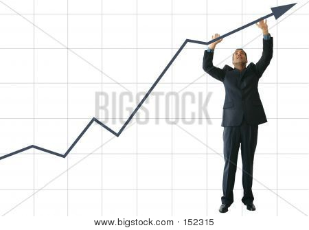 Business Man Pushing Graph Up - Je