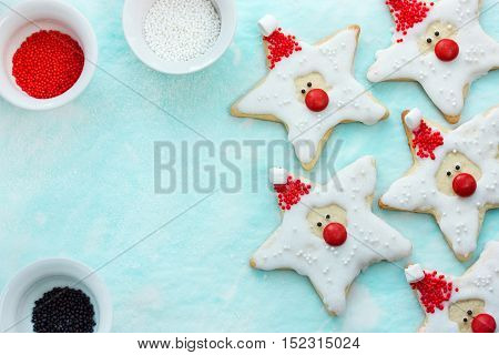 Christmas cookies santa claus creative idea for treats kids holiday baking Christmas background top view