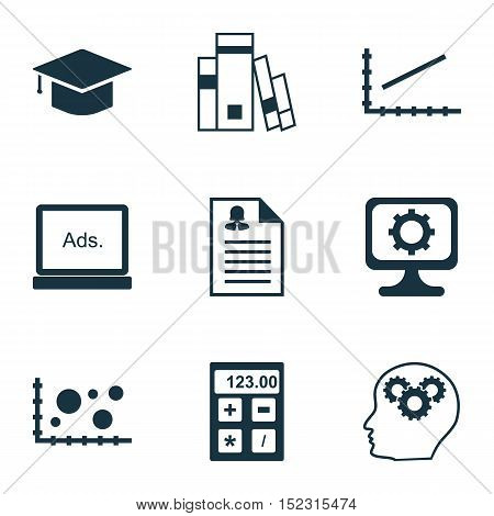 Set Of 9 Universal Editable Icons For Education, Statistics And Human Resources Topics. Includes Ico