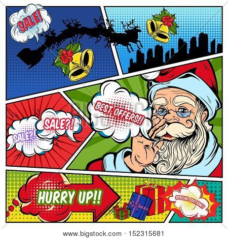 Christmas sales comics page with santa claus speech bubbles gift boxes on colorful divided background vector illustration