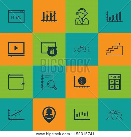 Set Of 16 Universal Editable Icons For Seo, Project Management And Education Topics. Includes Icons