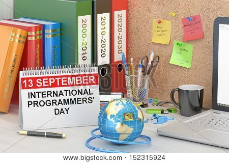 International Programmers' Day concept 3D rendering on the table