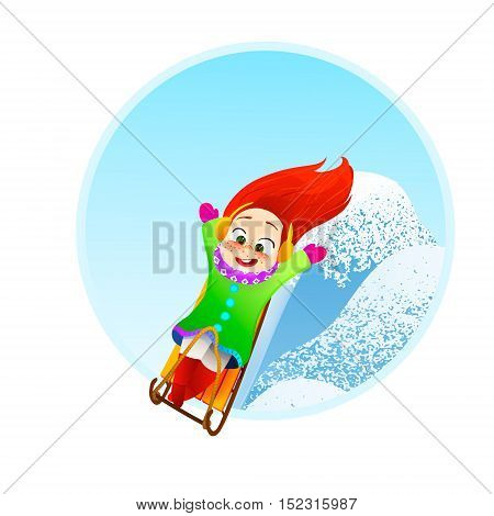 Little girl enjoying a sleigh ride. Child sledding. Toddler kid riding a sledge. Children play outdoors in snow.