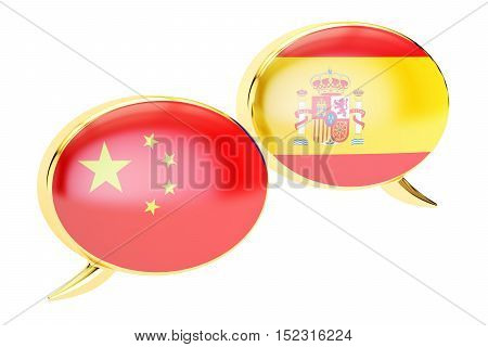 Speech bubbles Chinese-Spanish conversation concept. 3D rendering